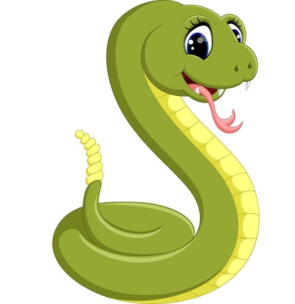 Illustration de dessin animé de serpent vert mignon Vecteur Premium