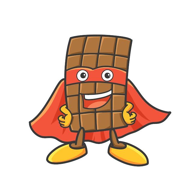 Illustration de dessin animé de super héros au chocolat. Vecteur Premium