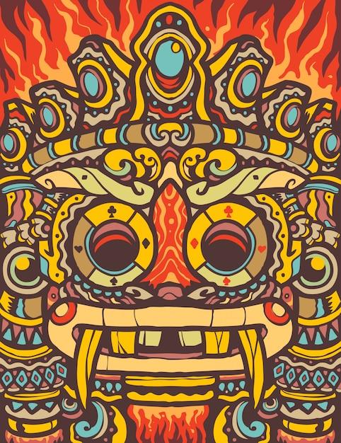 Illustration De Dessin Animé De Totem Aztèque Coloré Vecteur Premium