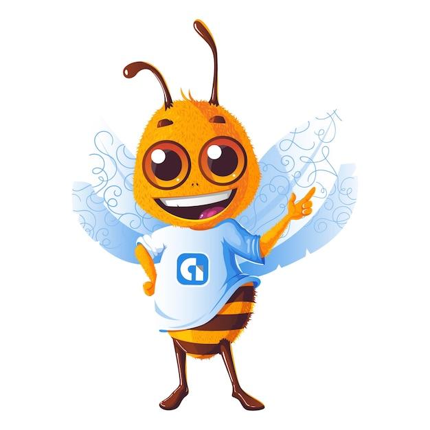 Illustration de dessin animé de vecteur d'abeille mignonne. Vecteur Premium