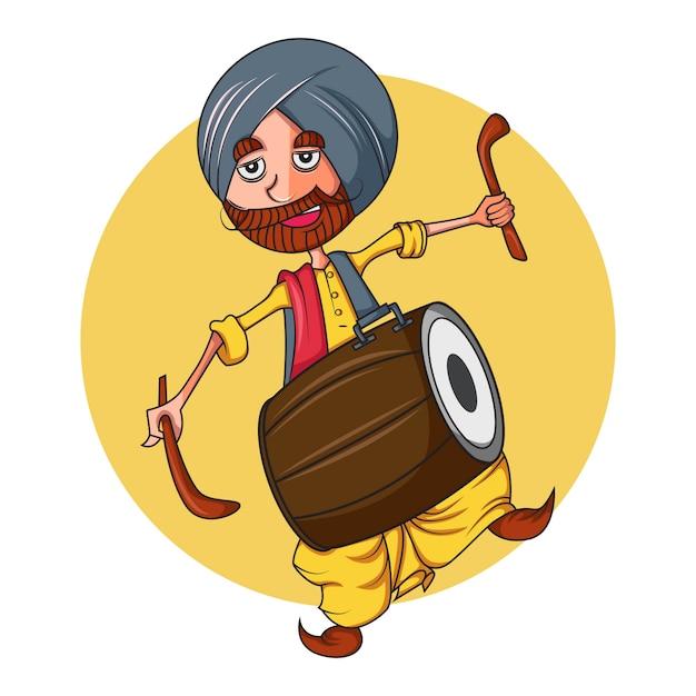 Illustration de dessin animé de vecteur d'un homme punjabi avec dhol. Vecteur Premium