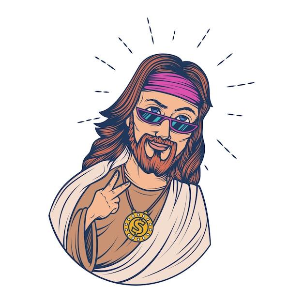 Illustration de dessin animé de vecteur de jésus. Vecteur Premium