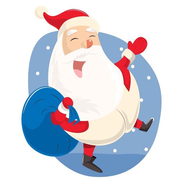 Illustration De Dessin Animé De Vecteur Père Noël Mignon