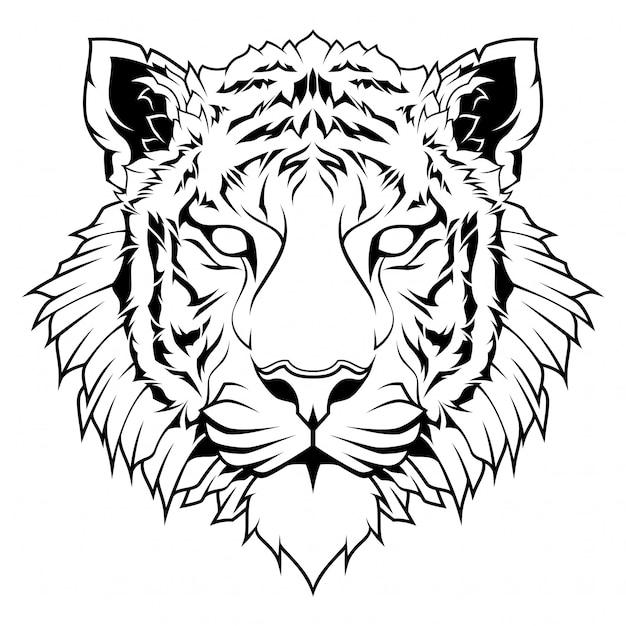 Illustration de dessin au trait tête de tigre Vecteur Premium