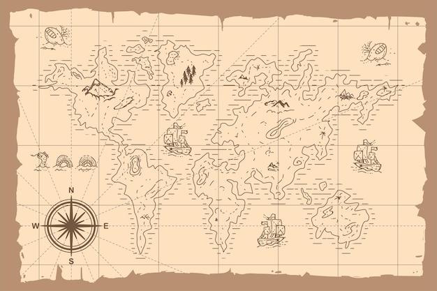 Illustration Dessinée à La Main De Carte Du Monde Vintage Vecteur Premium