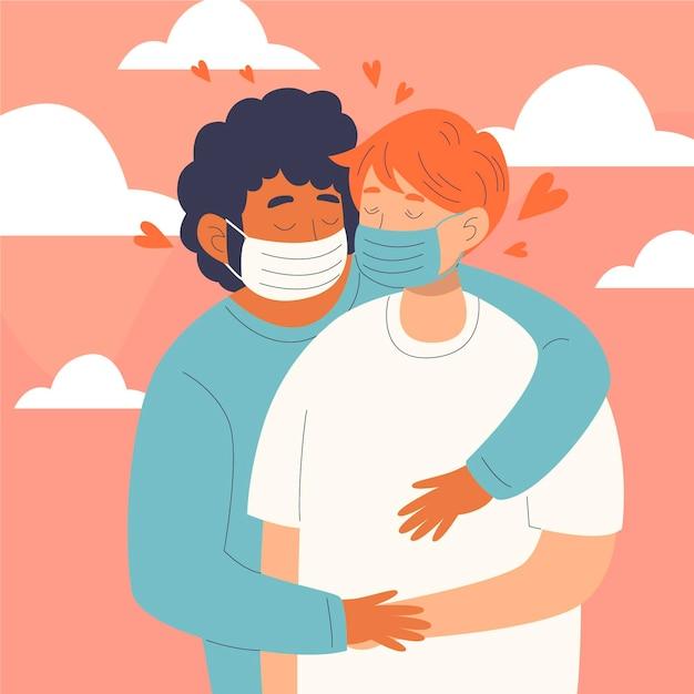 Illustration Dessinée à La Main Avec Des Couples S'embrassant Avec Un Masque De Covid Vecteur gratuit
