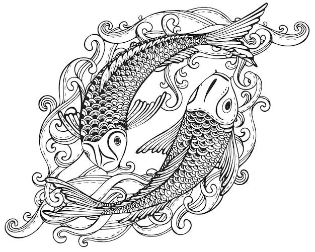 Illustration Dessinée à La Main De Deux Poissons Koi (carpe Japonaise) Vecteur Premium