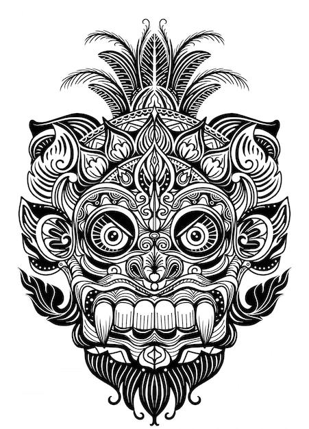 Illustration dessinée à la main élément ornemental. masque de diable de tatouage, vecteur de guerrier tribal masque Vecteur Premium
