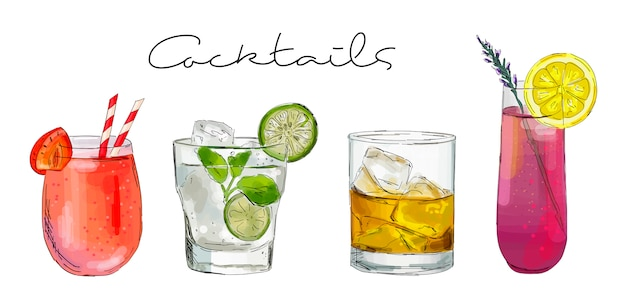 Illustration Dessinée à La Main De L'ensemble Des Cocktails. Vecteur Premium