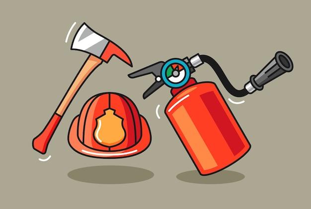 Illustration Dessinée à La Main De L'équipement De Pompier Vecteur Premium