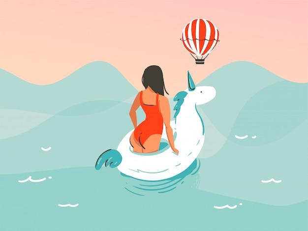 Illustration Dessinée à La Main Avec Une Fille En Maillot De Bain Nageant Avec Un Anneau En Caoutchouc De Licorne Sur Fond De Vague De L'océan Vecteur Premium