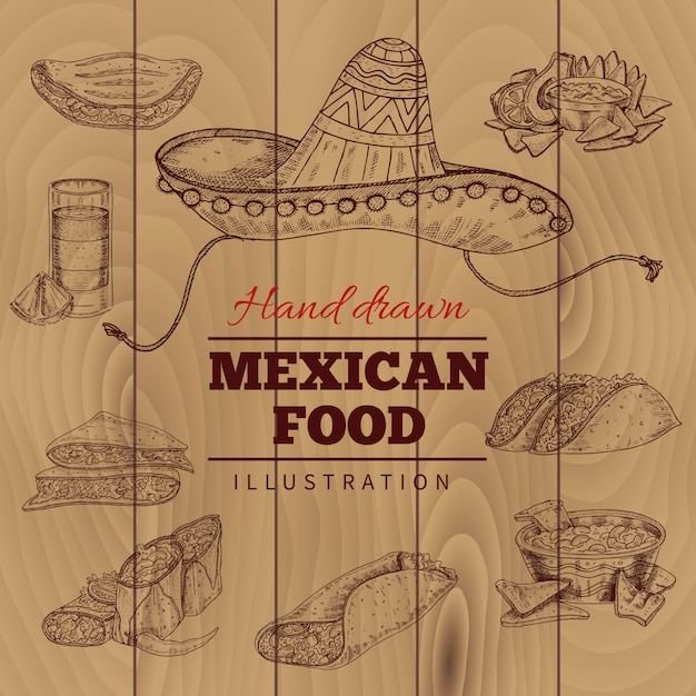 Illustration Dessinée à La Main De Nourriture Mexicaine Vecteur gratuit