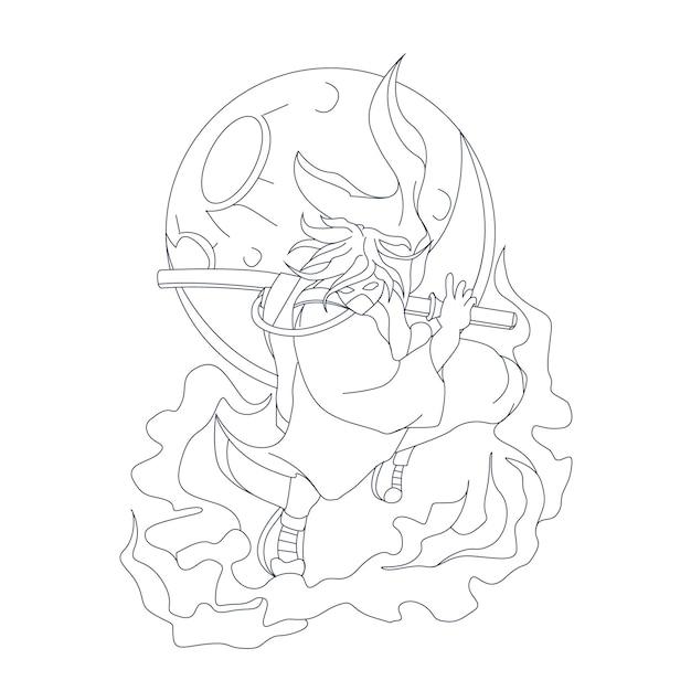 Illustration Dessinée à La Main De Samouraï Cool Vecteur Premium