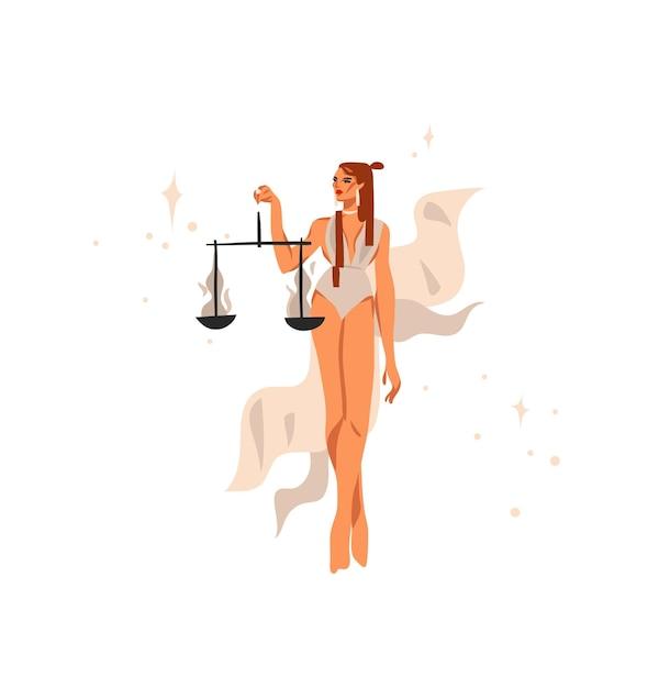 Illustration Dessinée à La Main Avec Signe Astrologique Du Zodiaque Balance Avec Femme Magique De Beauté Vecteur Premium