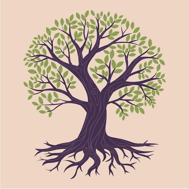 Illustration Dessinée à La Main De La Vie De L'arbre Vecteur gratuit
