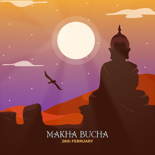 Illustration Détaillée De La Journée Makha Bucha Vecteur gratuit