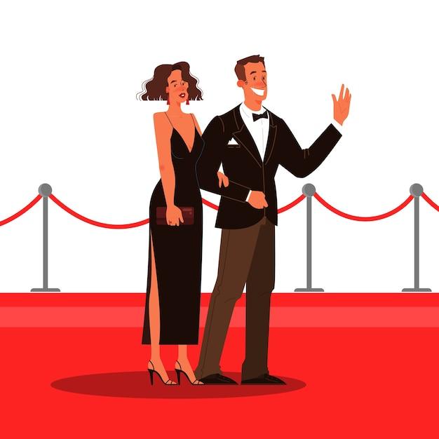 Illustration De Deux Célébrités Sur Le Tapis Rouge Vecteur Premium