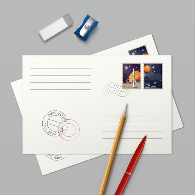Illustration De Deux Enveloppes Avec Des Timbres-poste Et Une Gomme Et Un Taille-crayon Stylo Papeterie Vecteur Premium