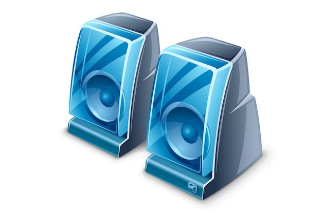 Illustration De Deux Haut-parleurs Vecteur Premium