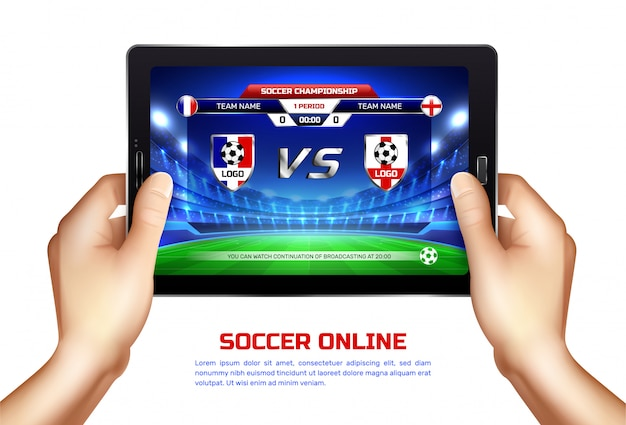Illustration De Diffusion En Ligne De Football Vecteur gratuit