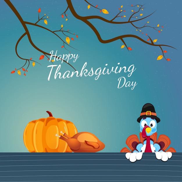 Illustration de la dinde portant un chapeau de pèlerin avec des branches de citrouille, de poulet et d'automne en bleu pour la célébration de la bonne fête de thanksgiving. Vecteur Premium