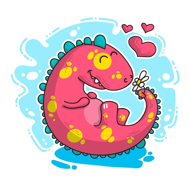 Illustration sur dinosaure amoureux Vecteur Premium