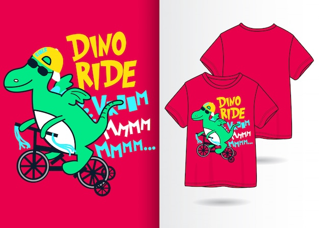 Illustration De Dinosaures Mignons Dessinés à La Main Avec La Conception De T-shirt Vecteur Premium
