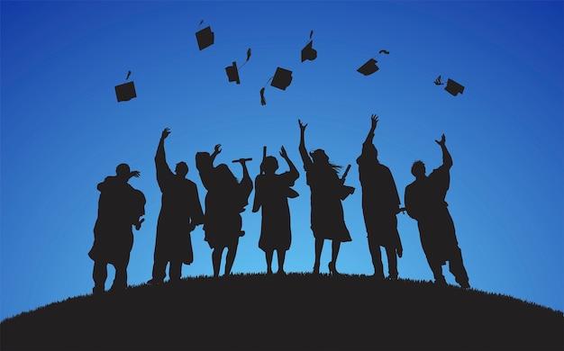Illustration des diplômés universitaires Vecteur gratuit