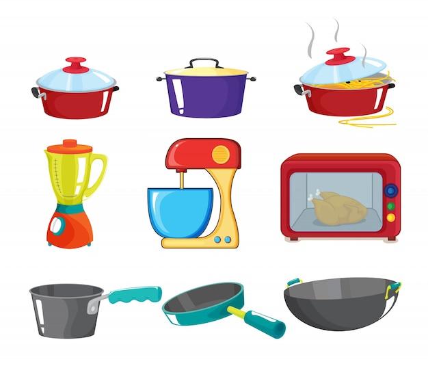 Illustration de divers appareils de cuisine Vecteur gratuit