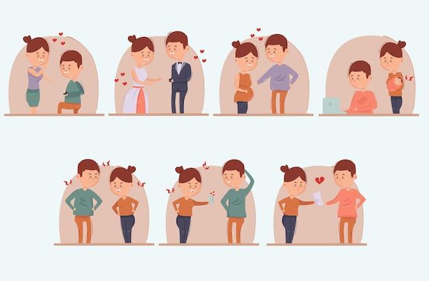 Illustration De Divorce De Mariage De Dessin Animé Vecteur Premium