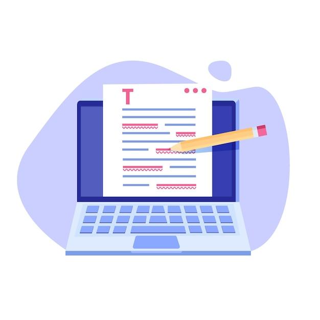 Illustration De Document En Ligne Modifiable. Vecteur Premium