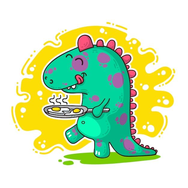 Illustration de doodle cool dino Vecteur Premium