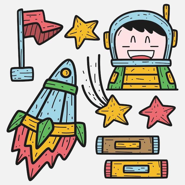 Illustration De Doodle De Dessin Animé Mignon Astronaute Vecteur Premium
