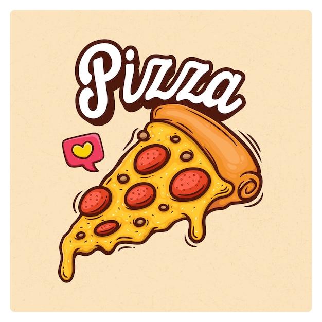 Illustration De Doodle Dessinés à La Main De Pizza Vecteur Premium