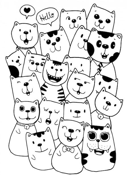 Illustration de doodles de style de personnages de chat à colorier pour les enfants Vecteur Premium