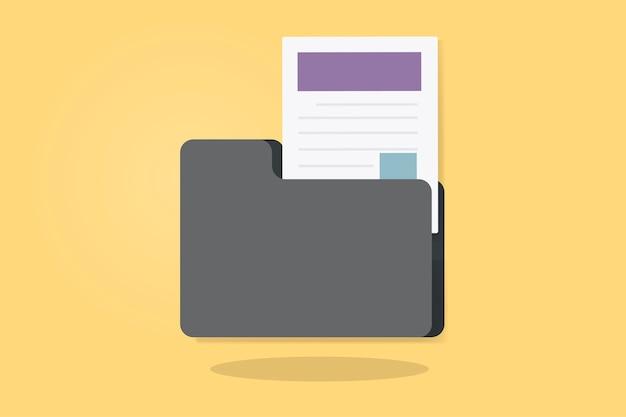 Illustration d'un dossier avec document Vecteur gratuit