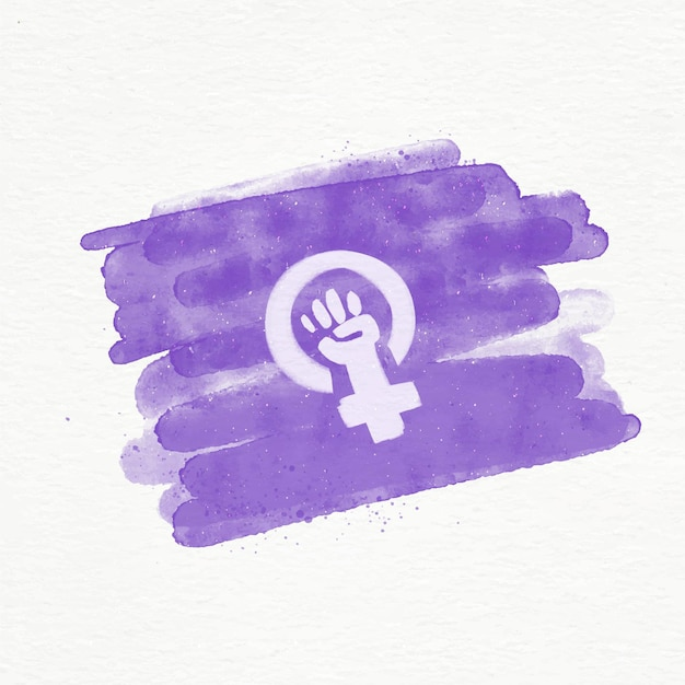Illustration De Drapeau Féministe Aquarelle Avec Poing Et Symbole Féminin Vecteur Premium