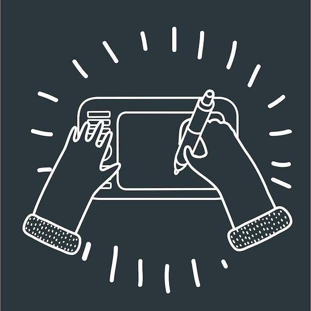 Illustration Drôle De Dessin Animé De Graphiste à La Main Avec Un Stylo Numérique Et Une Tablette Vecteur Premium