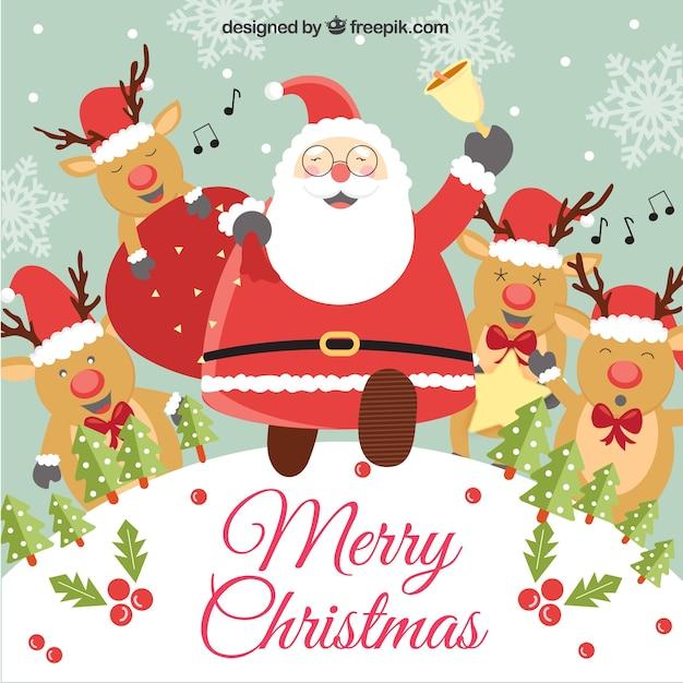 Illustration Drôle De Père Noël Et Ses Rennes Télécharger