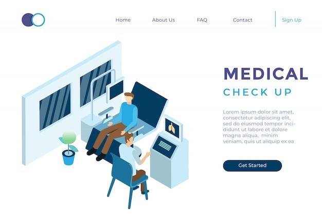 Illustration Du Bilan De Santé Du Médecin à L'hôpital Dans Un Style 3d Isométrique Vecteur Premium
