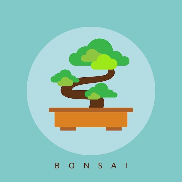 Illustration du bonsaï plat du japon Vecteur Premium