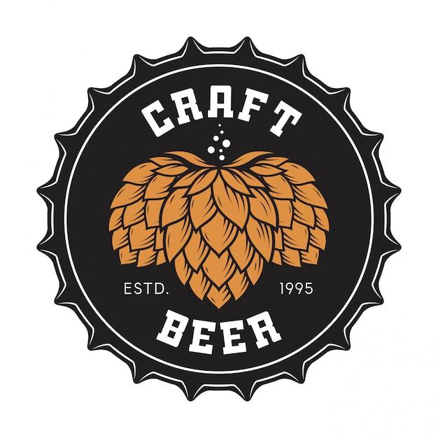 Illustration Du Bouchon De Bouteille De Bière Artisanale Avec Du Houblon Vecteur Premium