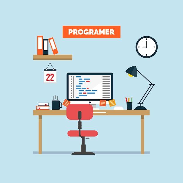 Illustration du bureau de travail du programmeur Vecteur Premium