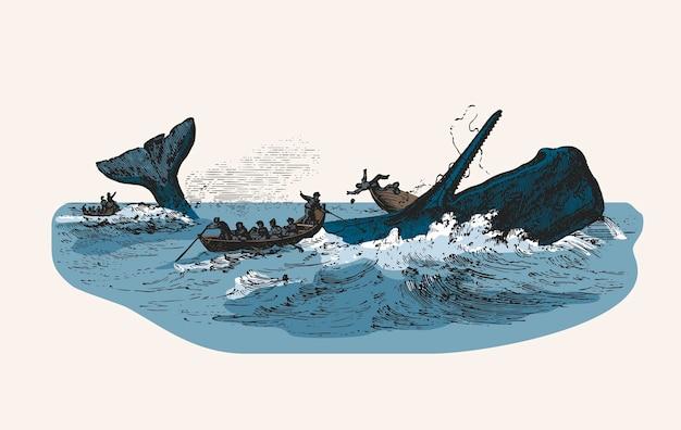 Illustration du cachalot en train d'attaquer un bateau de pêche Vecteur gratuit