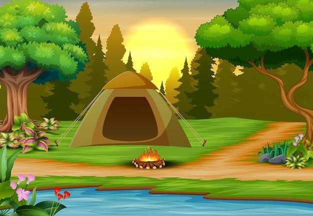 Illustration du camping sur paysage coucher de soleil Vecteur Premium