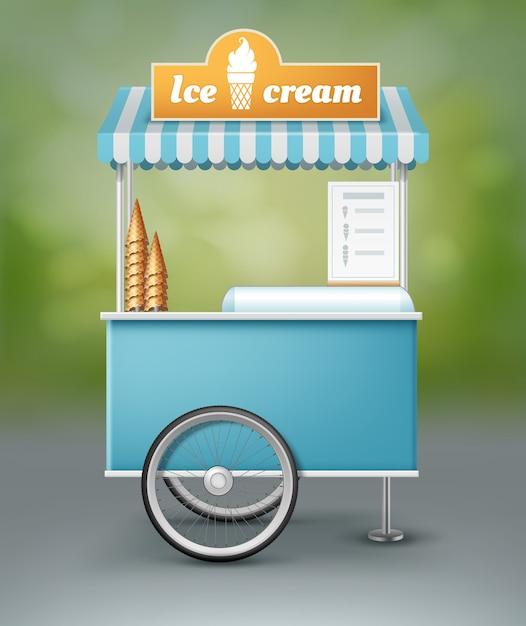Illustration Du Chariot Bleu Pour La Crème Glacée Avec Enseigne Vecteur gratuit