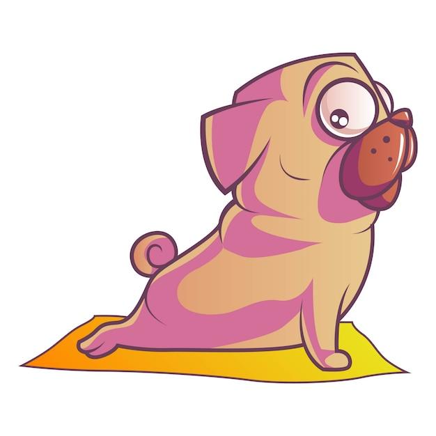 Illustration du chien carlin. Vecteur Premium