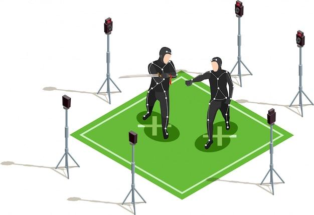 Illustration du cinématographe isométrique Vecteur gratuit