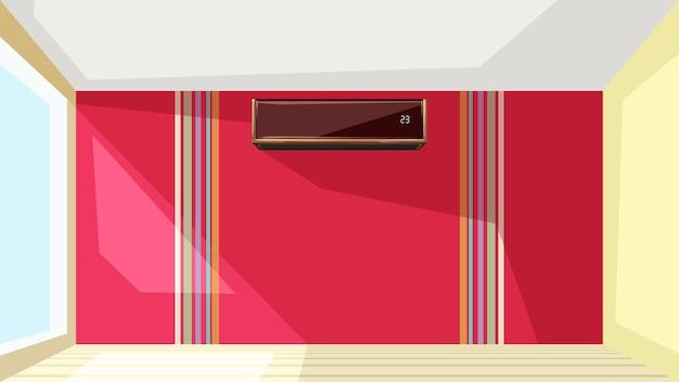 Illustration Du Climatiseur Sur Un Mur Rouge à Un Appartement Intérieur Lumineux Vecteur Premium