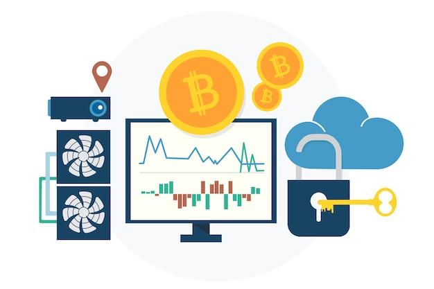 Illustration du concept bitcoin Vecteur gratuit